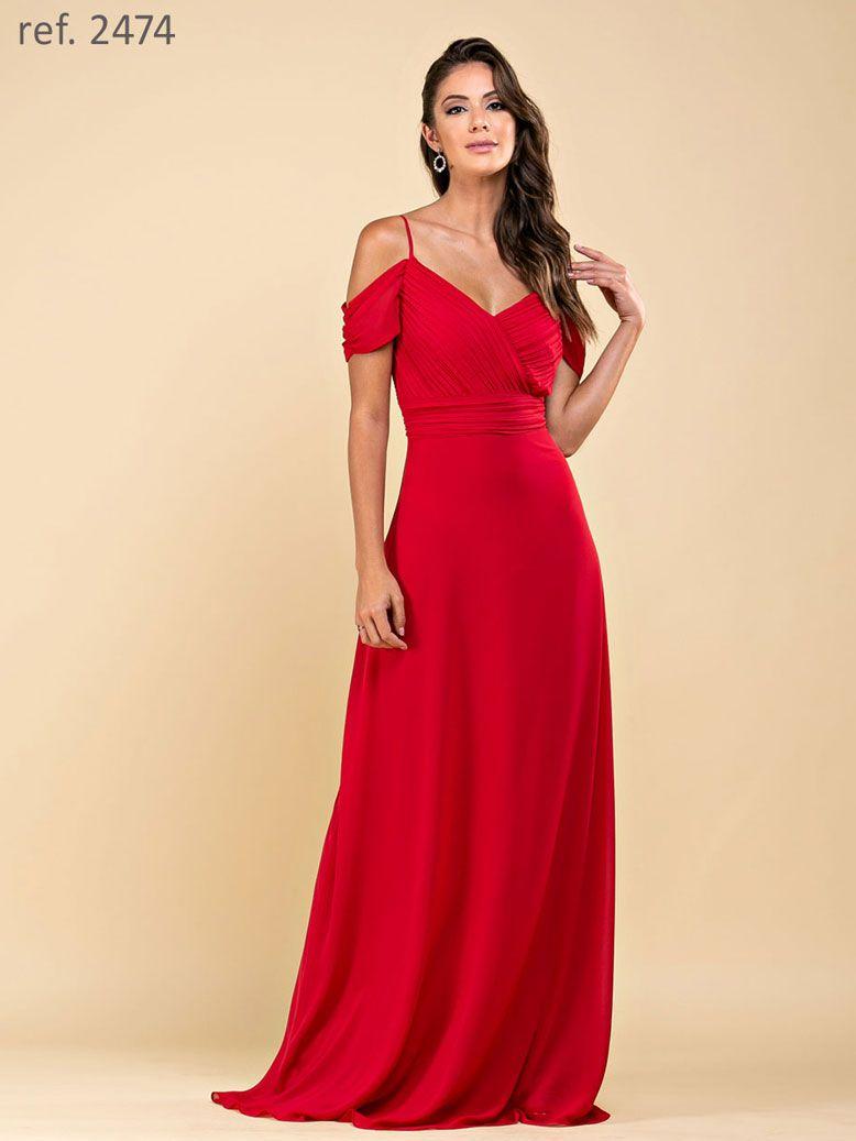 Vestido de festa longo plissado vermelho ref. 2474