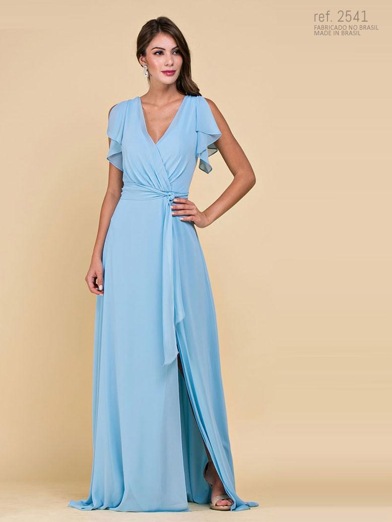 Vestido de festa longo azul serenity - Ref. 2541