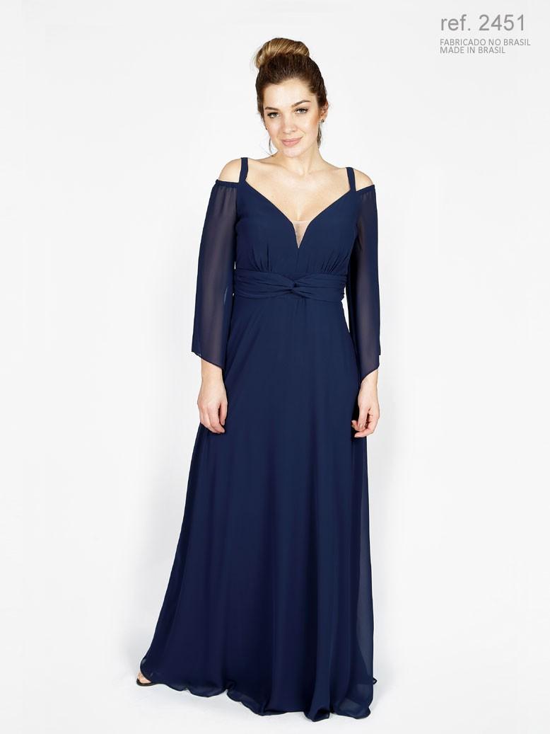 Vestido de festa longo azul marinho e trançado na pala ref. 2451