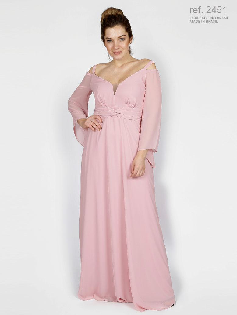 Vestido de festa longo rosê com manga e trançado na pala ref. 2451