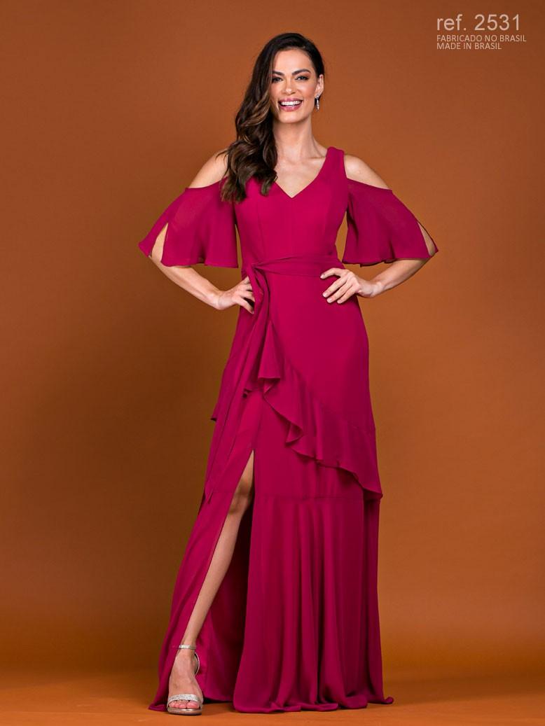 Vestido de festa longo de chiffon com manguinha e babados na saia ref. 2531