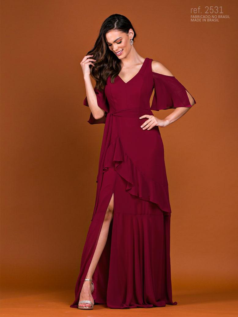 Vestido de festa longo marsala ref. 2531