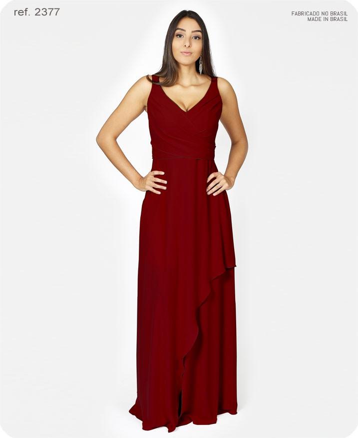 Vestido de festa longo de chiffon busto transpassado marsala - Ref. 2377