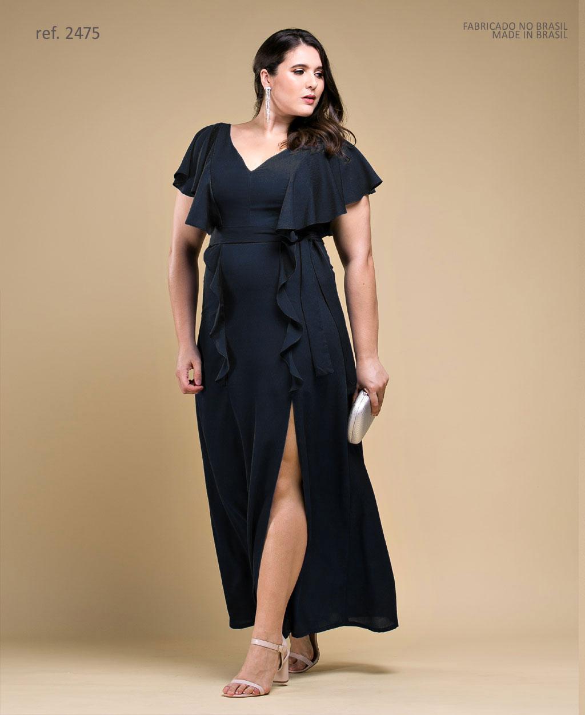 Vestido de festa LONGO preto plus size Ref. 2475