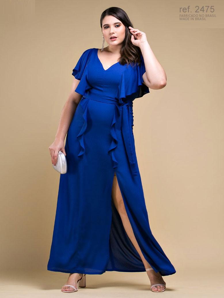 Vestido de festa LONGO Azul com babado na frente e na saia Ref. 2475