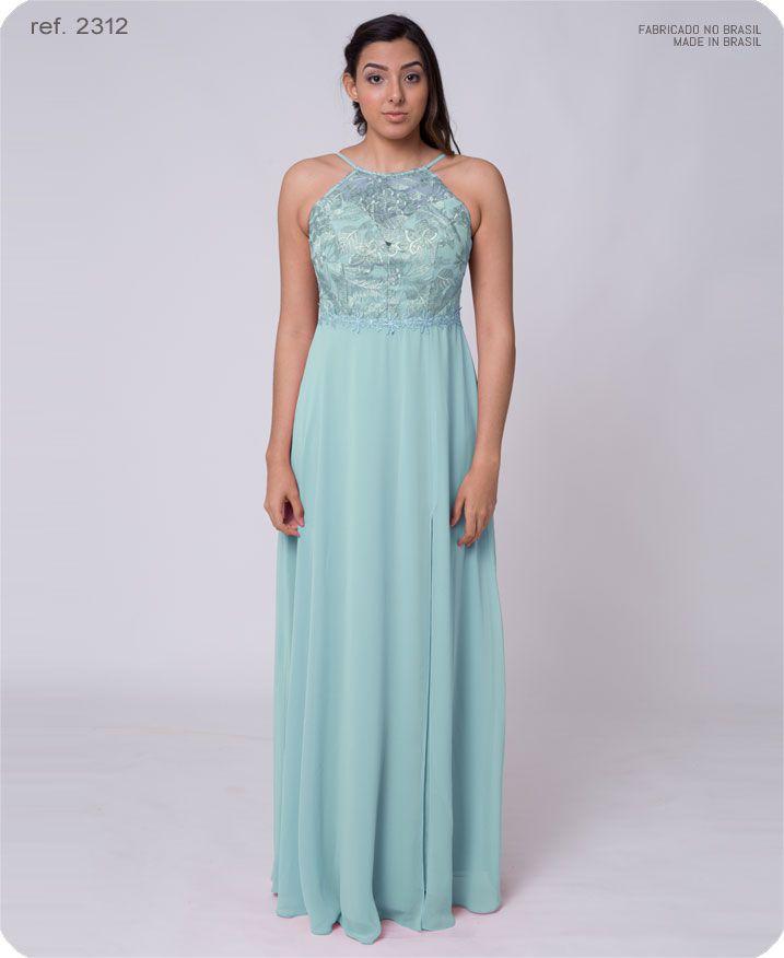 Vestido de festa longo de renda cava americana - Ref. 2312 s