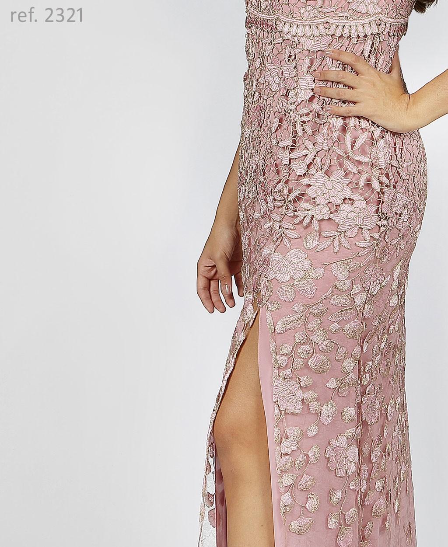 vestido guippir rosê