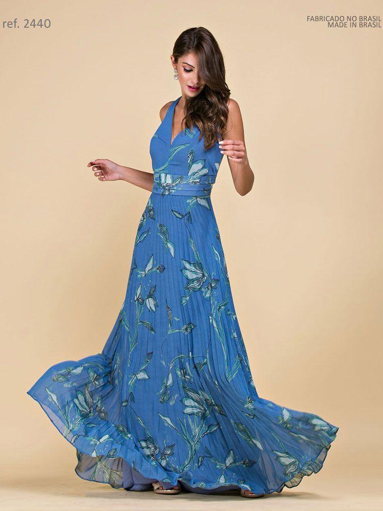 Vestido de festa longo estampado  azul com saia plissada - Ref 2440