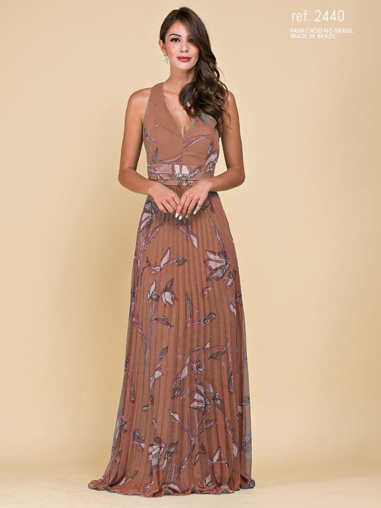 Vestido de festa longo estampado plissada CAQUI marrom- Ref 2440