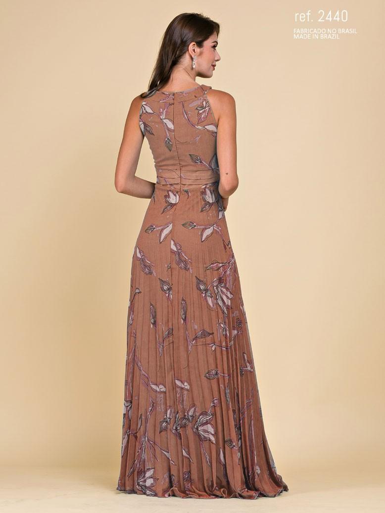 vestido longo plissado