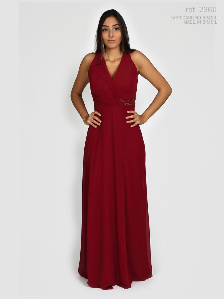 Vestido de festa longo marsala - Ref. 2360
