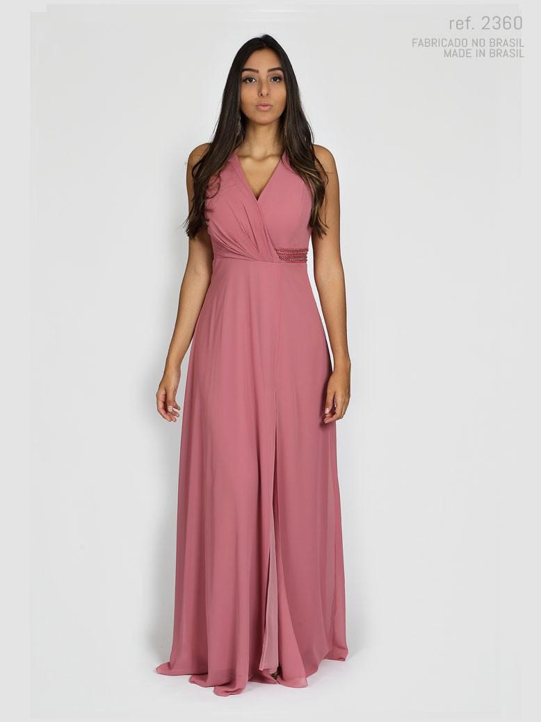 Vestido de festa longo Rosa antigo - Ref. 2360