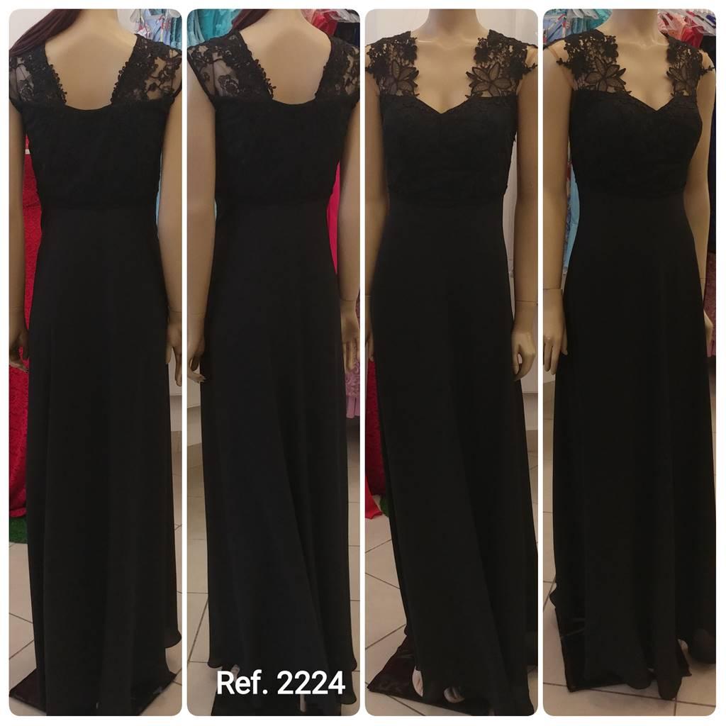 Vestido de festa longo Guippir em tule bordado - Ref. 2224 s
