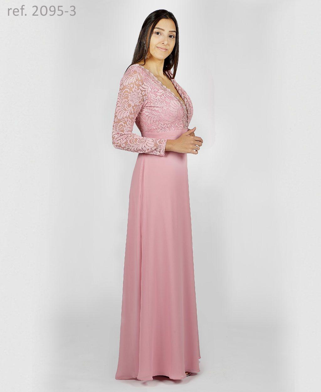 Vestido de festa longo manga longa de renda - Ref. 2095 -3