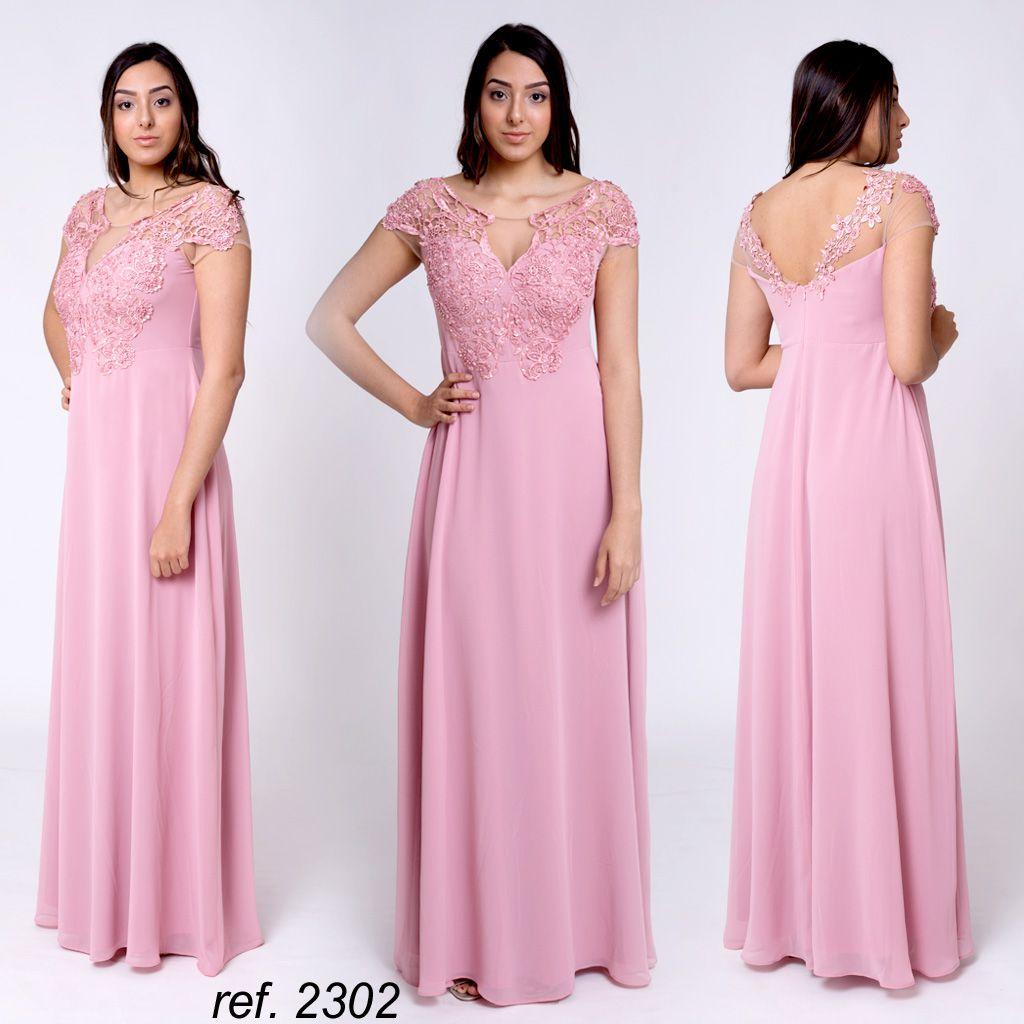 Vestido de festa longo manguinha bordada - Ref. 2302
