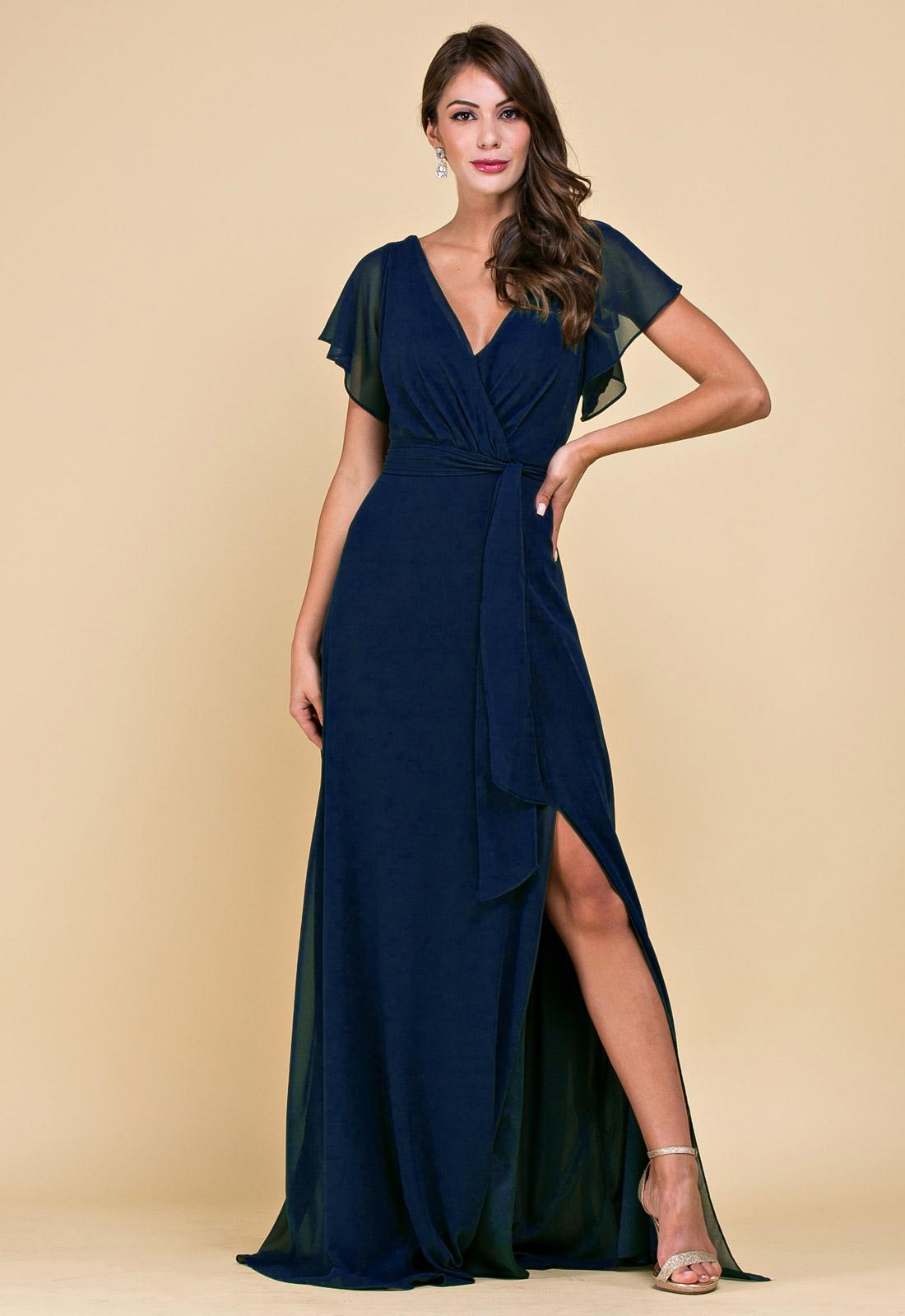 Vestido de festa longo marinho - Ref. 2541