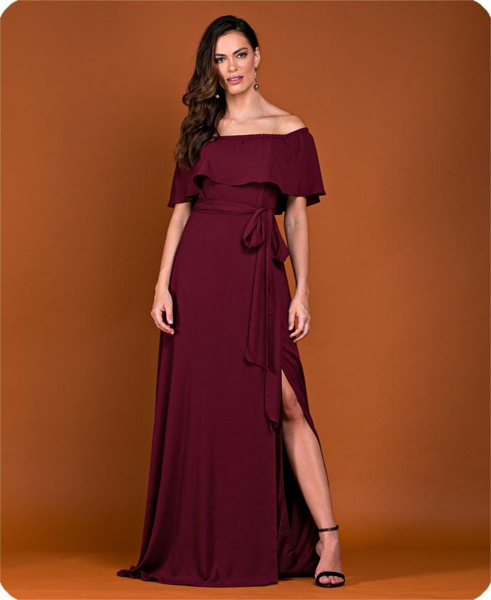 Vestido de festa longo marsala Ref. 2464