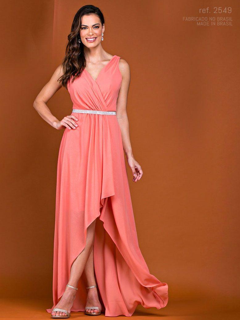 Vestido de festa longo mullet de chiffon coral ref.2549