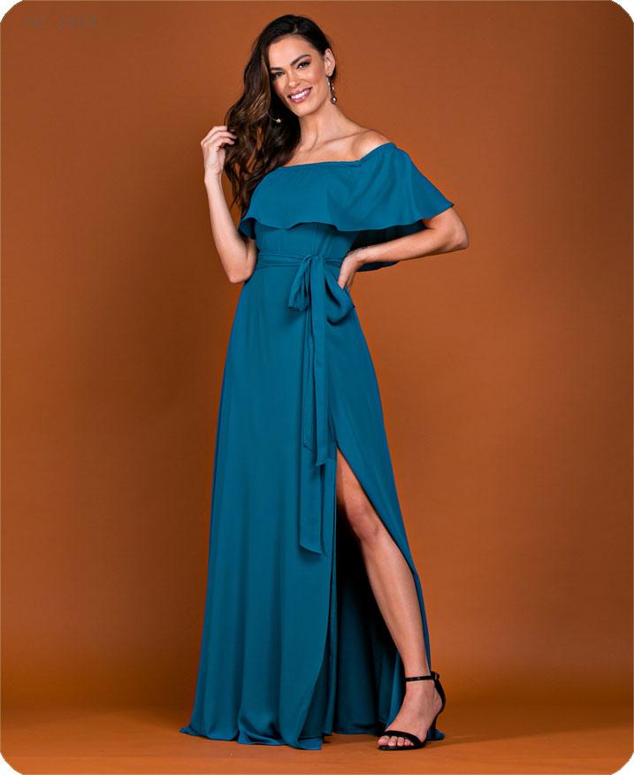 Vestido de festa longo Petroleo Ref. 2464