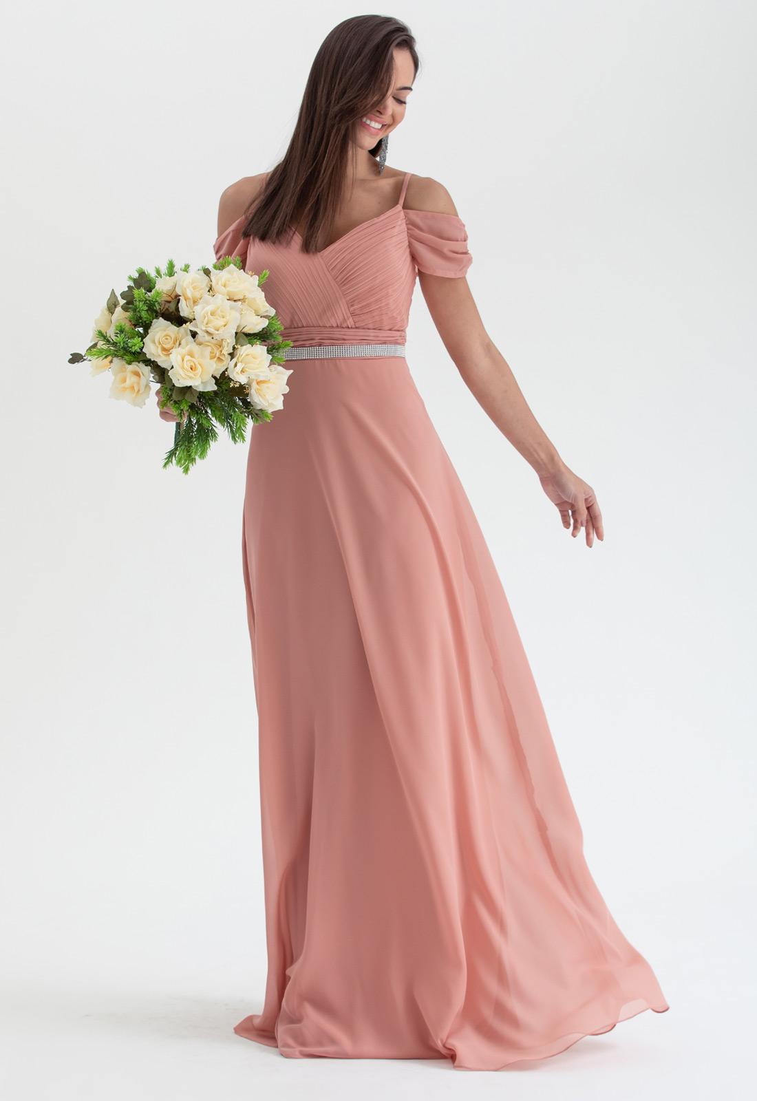 Vestido de festa longo plissado rosê ref. 2474
