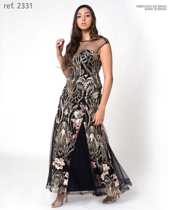 Vestido de festa longo preto de tule bordado dourado - Ref. 2331
