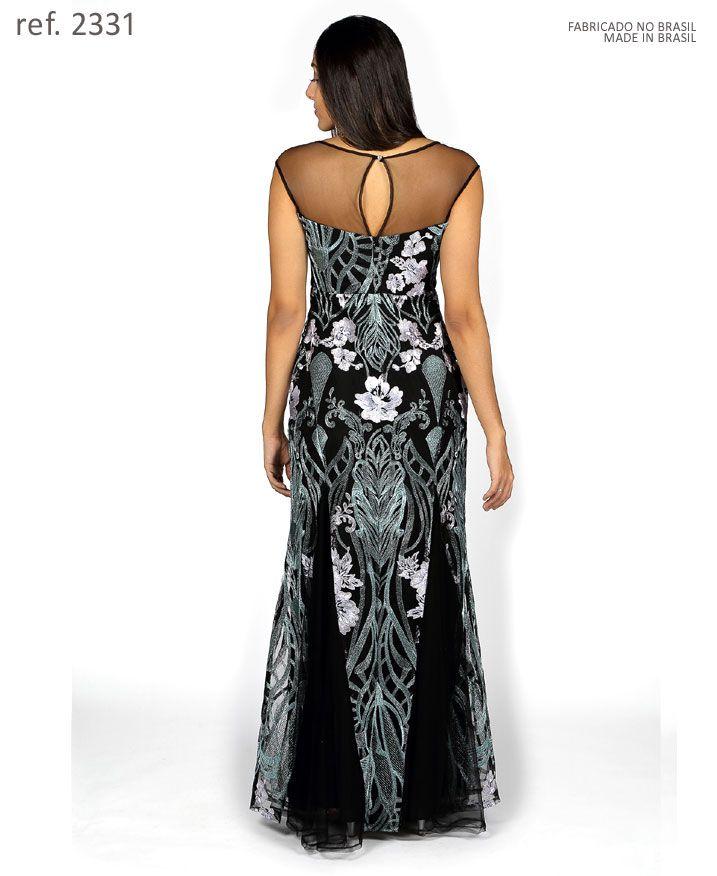 Vestido de festa longo preto fio Azul de tule bordado dourado - Ref. 2331