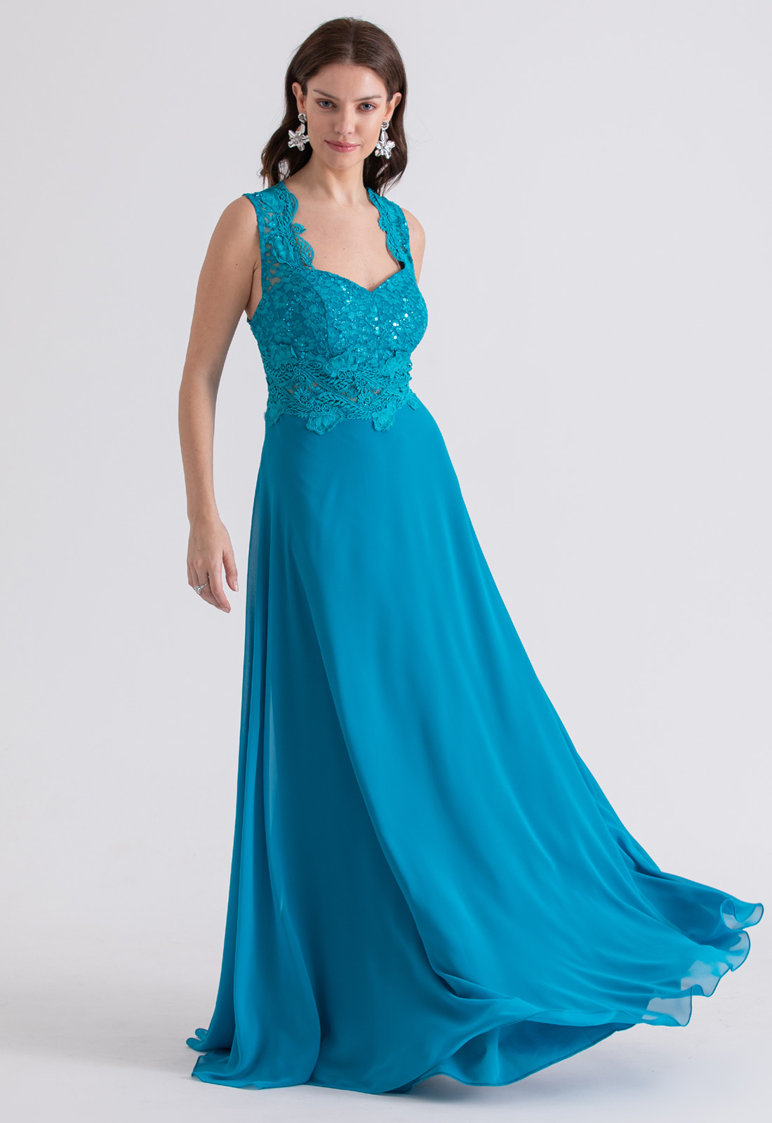 Vestido de festa longo Renda Azul turquesa - Ref. 2223