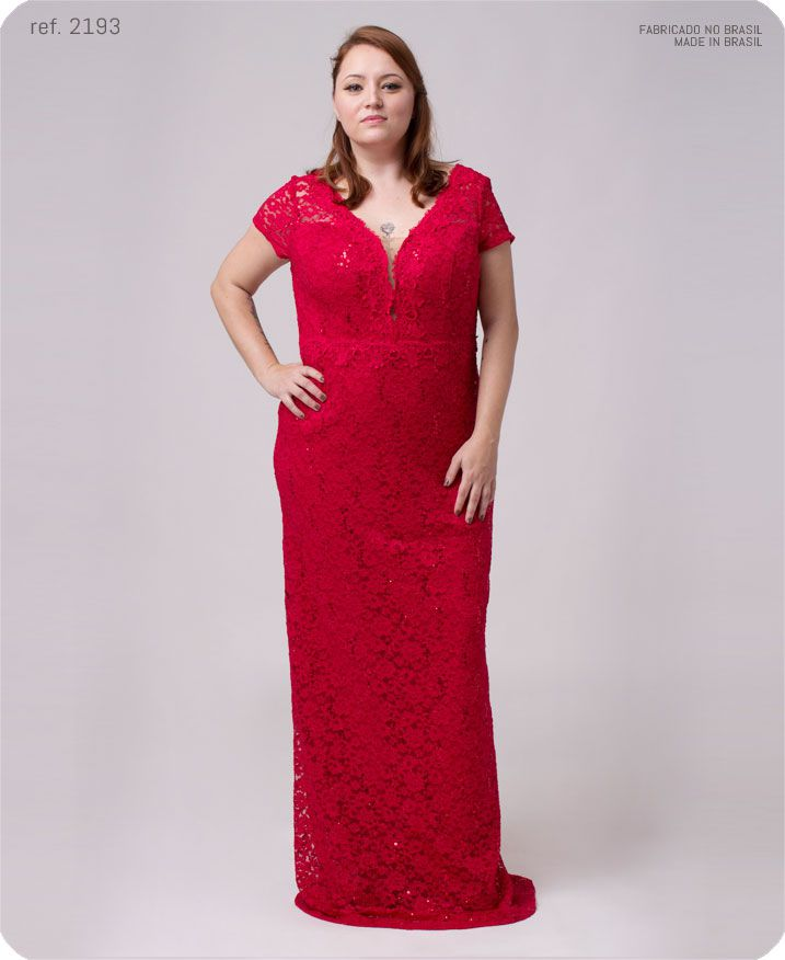 Vestido de festa vermelho longo renda plus size ref. 2193