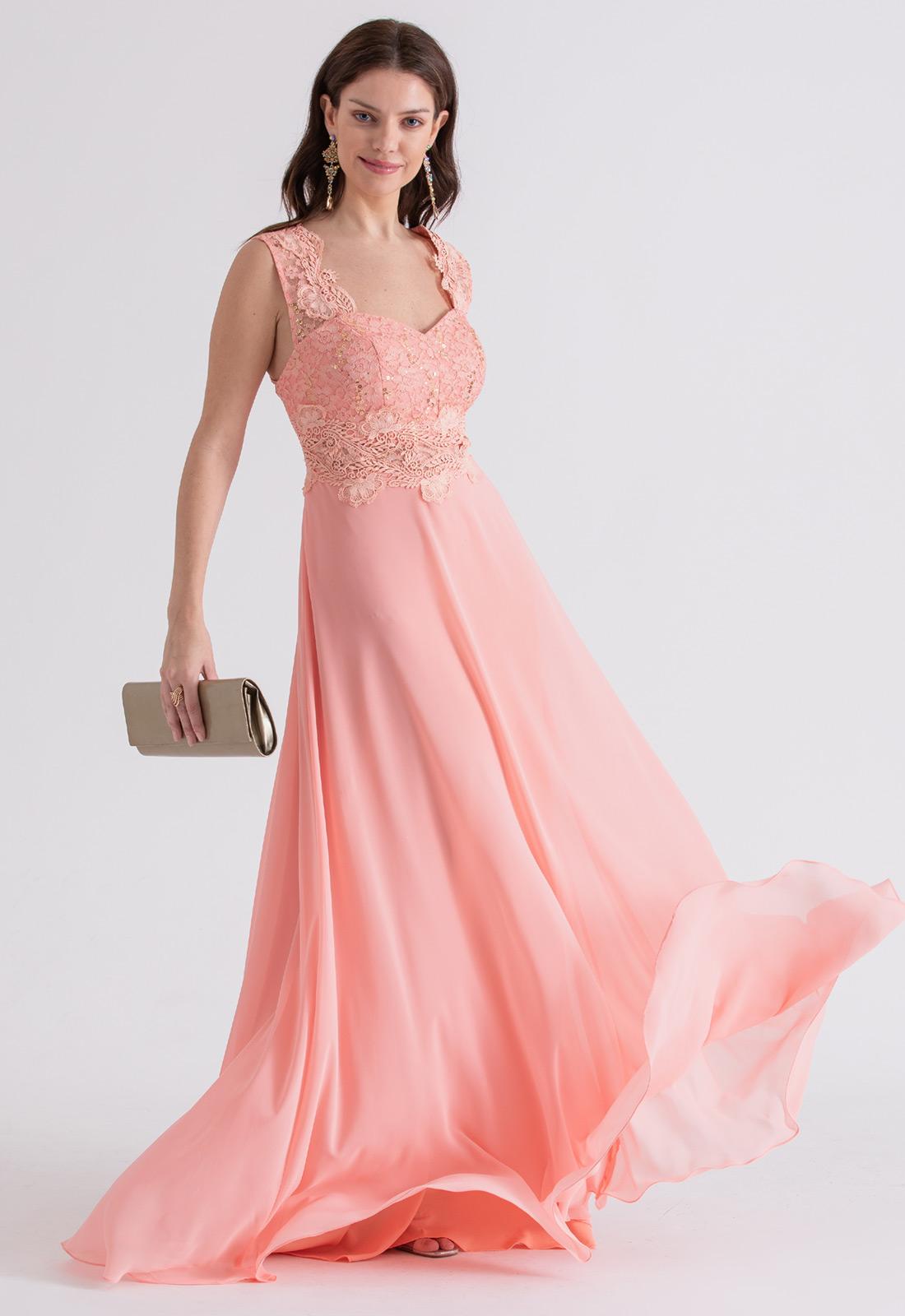 Vestido de festa longo Renda rosê - Ref. 2223