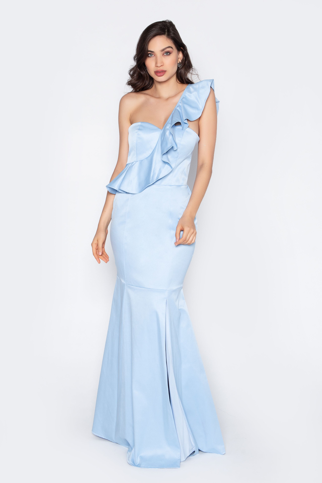 Vestido de festa longo um ombro azul serenity ref.P504