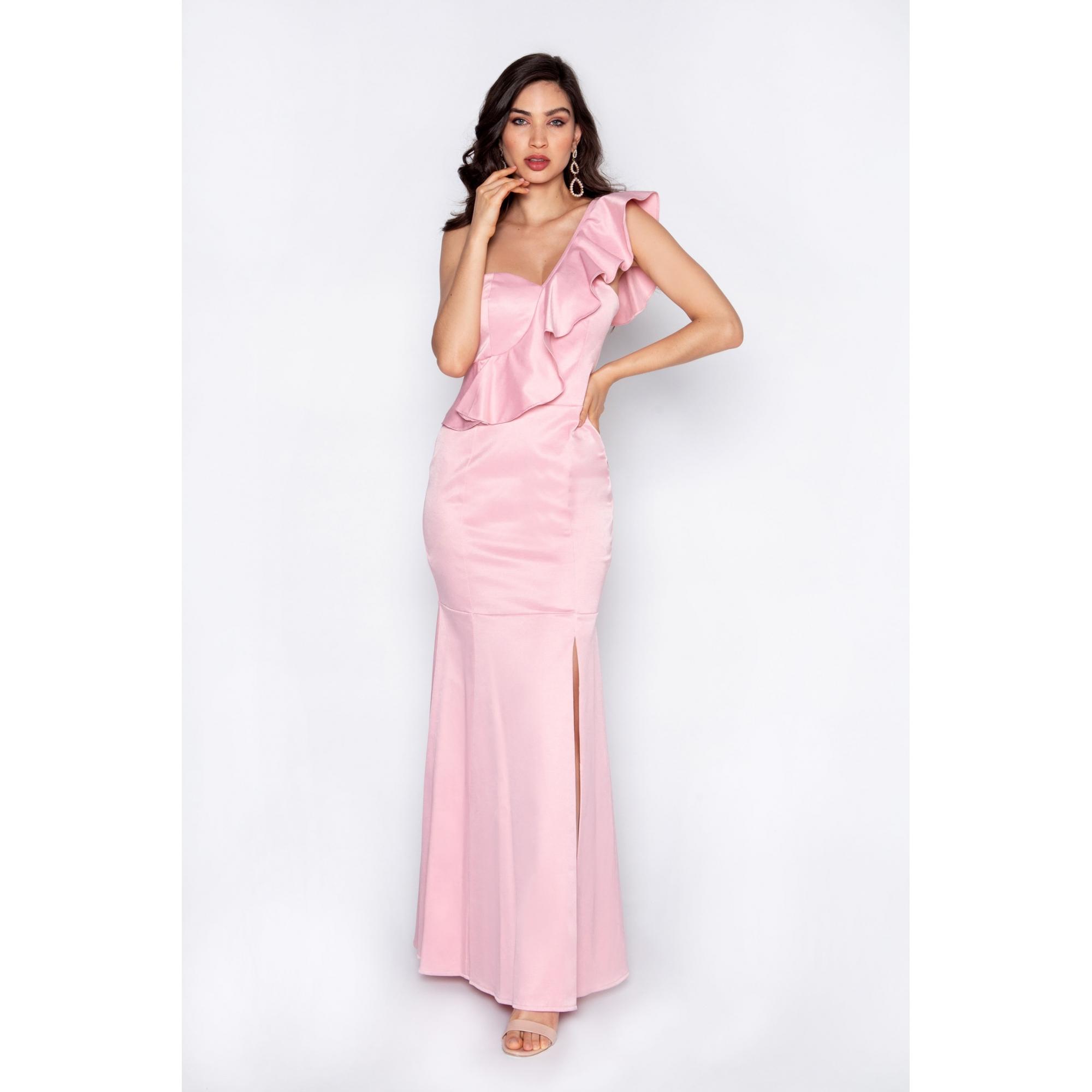 Vestido de festa longo um ombro rosa ref.P504