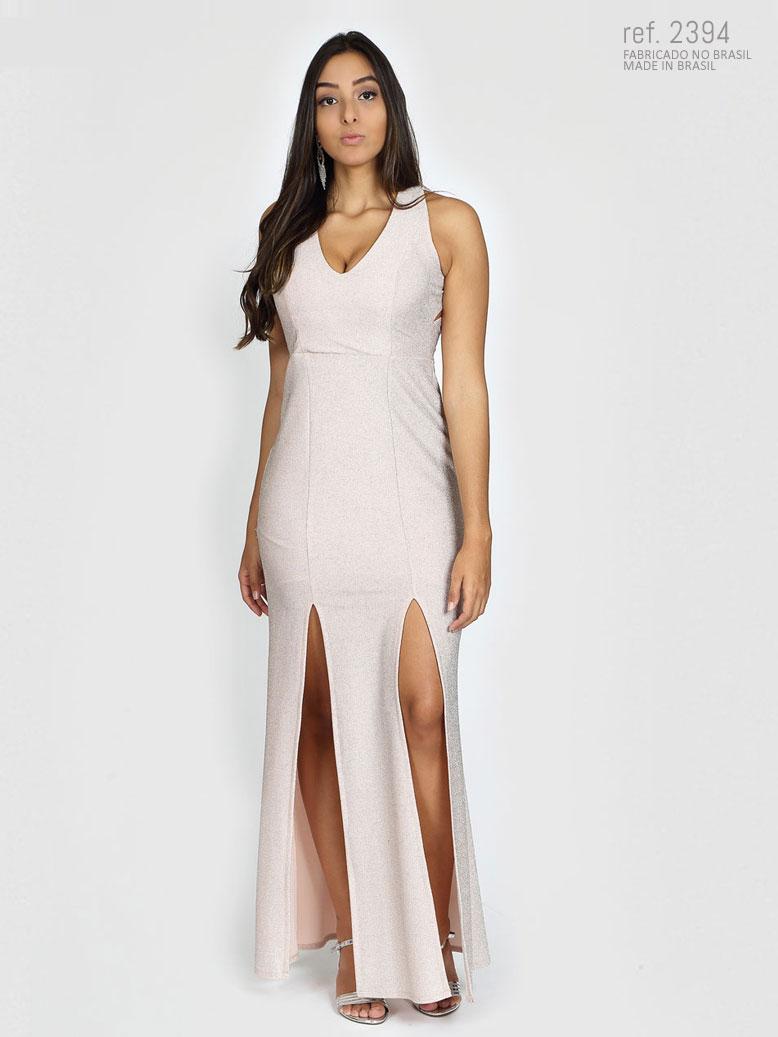 Vestido de festa lurex  costas trançadas e 2 fendas Roxo, preto e pérola - Ref. 2394