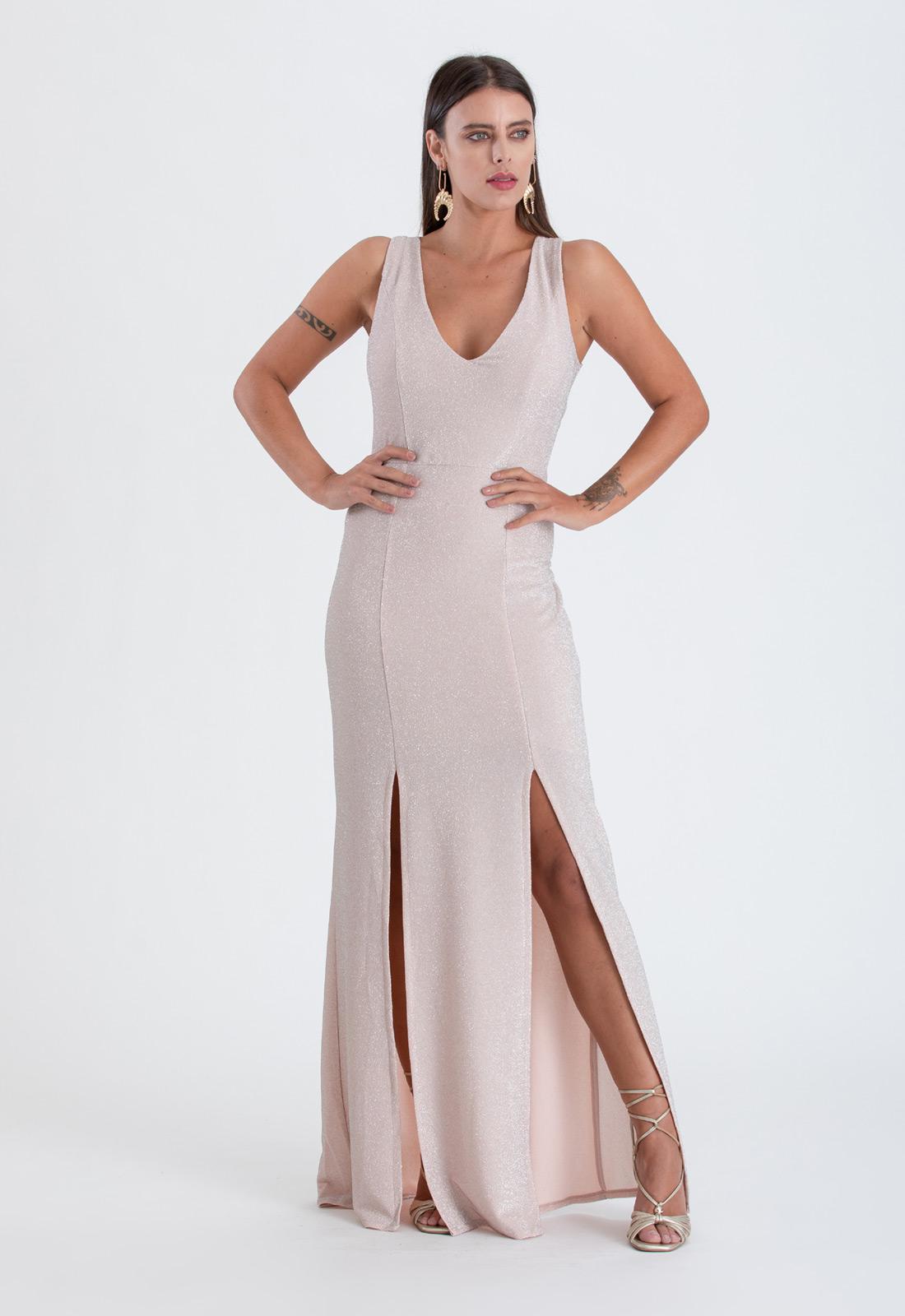 Vestido de festa lurex pérola - Ref. 2394