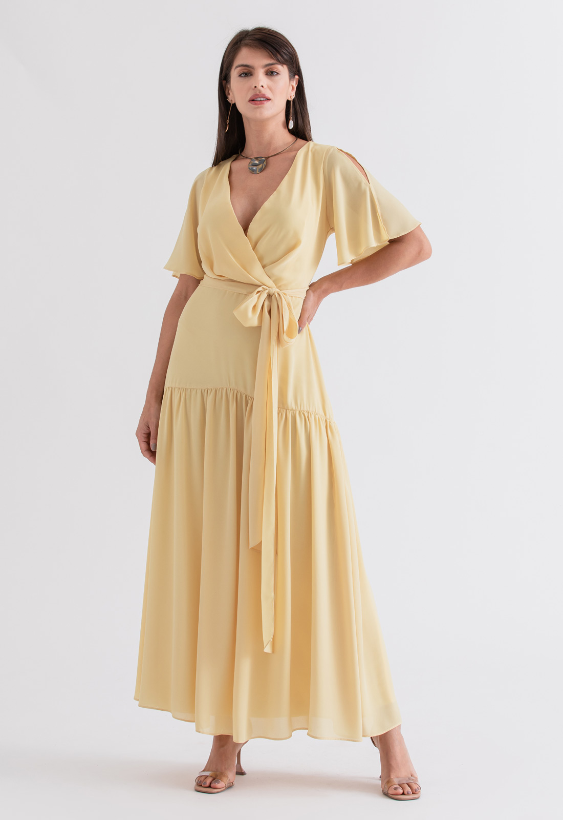 Vestido de festa maxi amarelo ref. 2695