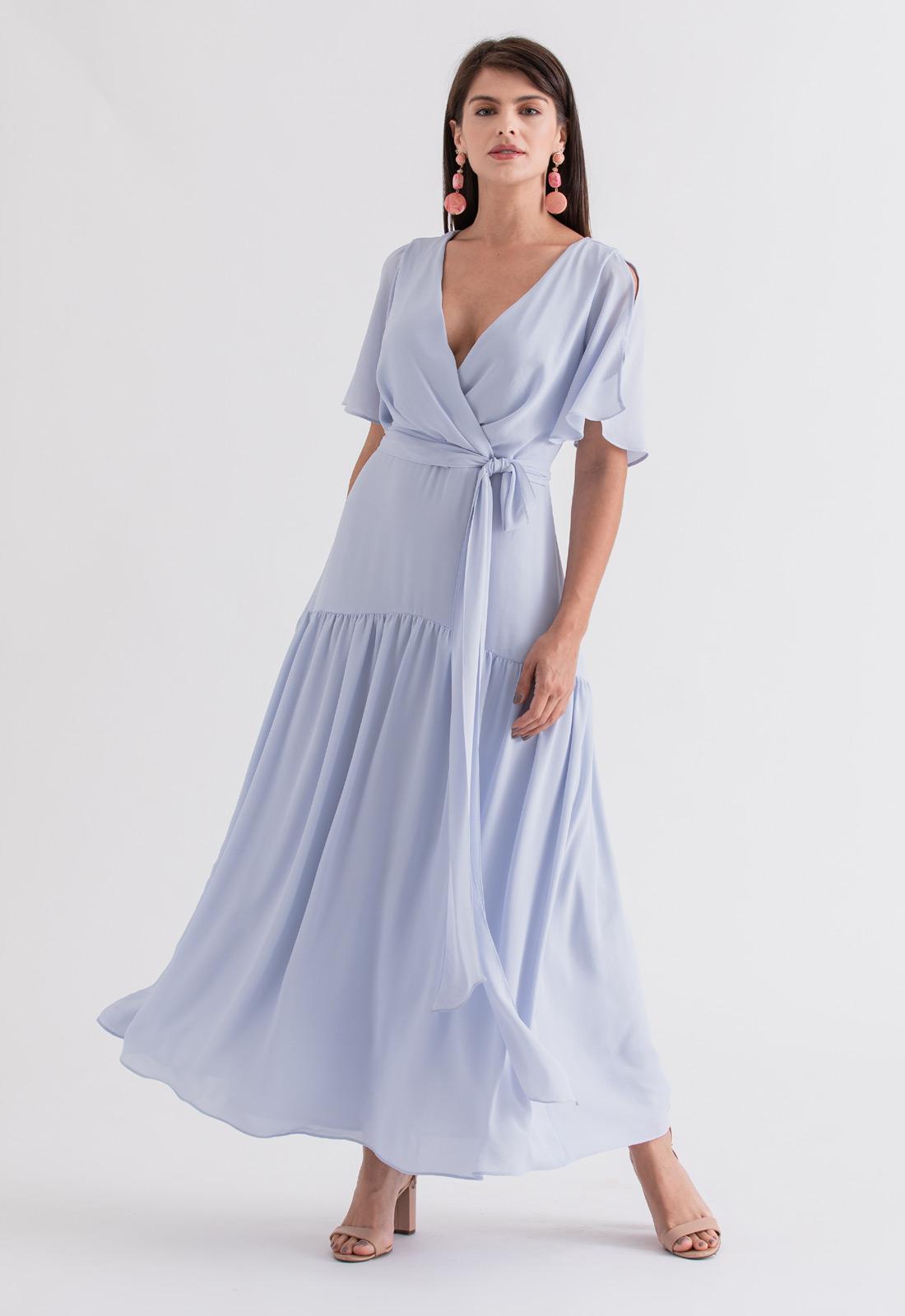 Vestido de festa maxi azul serenity claro ref. 2695