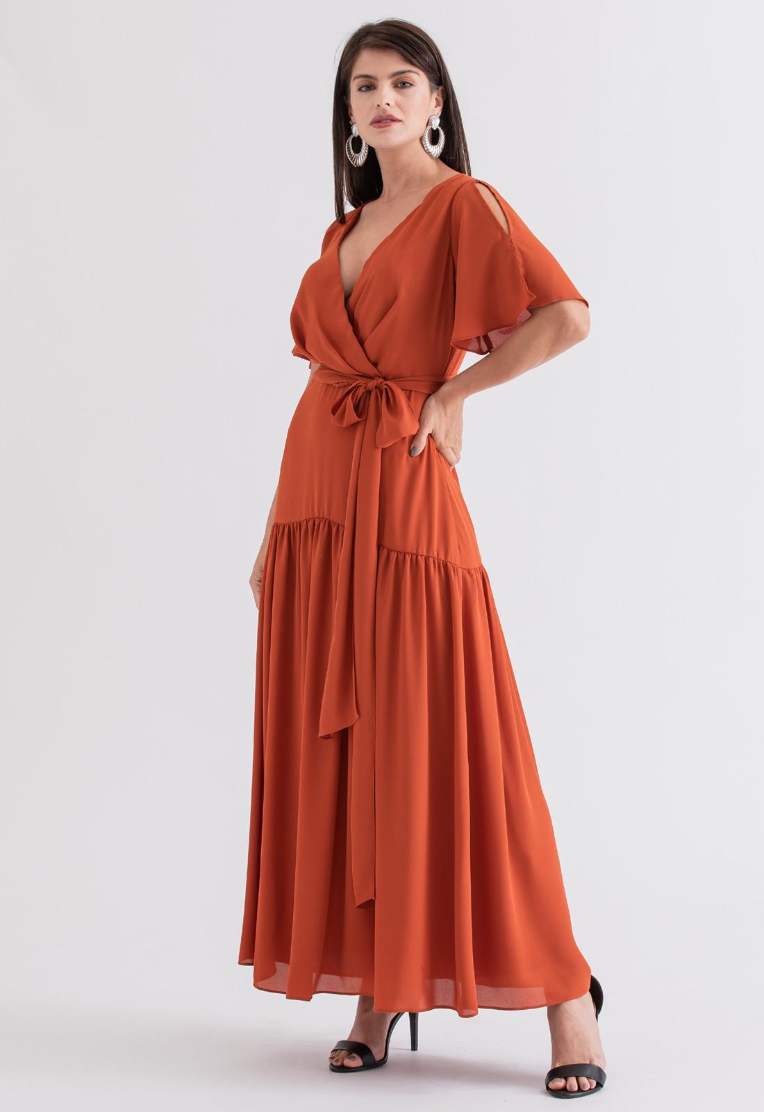 Vestido de festa maxi terracota ref. 2695