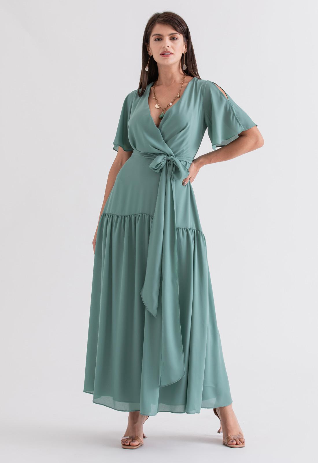 Vestido de festa maxi verde salvia ref. 2695