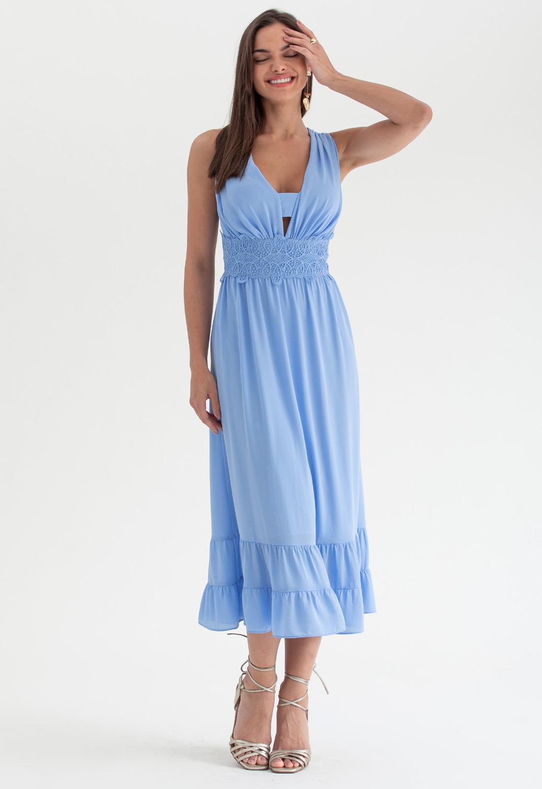 Vestido de festa midi azul serenity - Ref. 2691