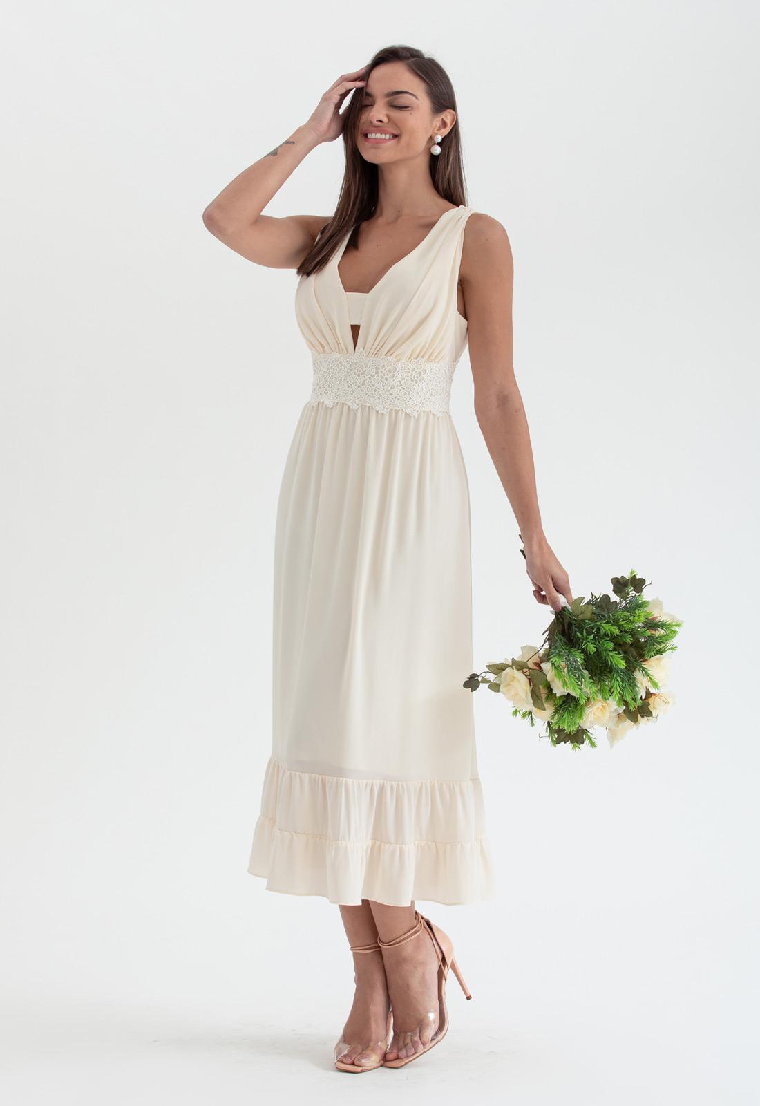 Vestido de festa midi branco - Ref. 2691