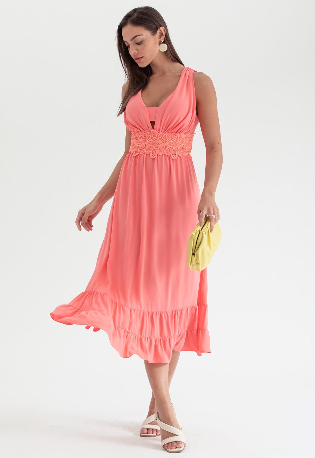 Vestido de festa midi coral - Ref. 2691