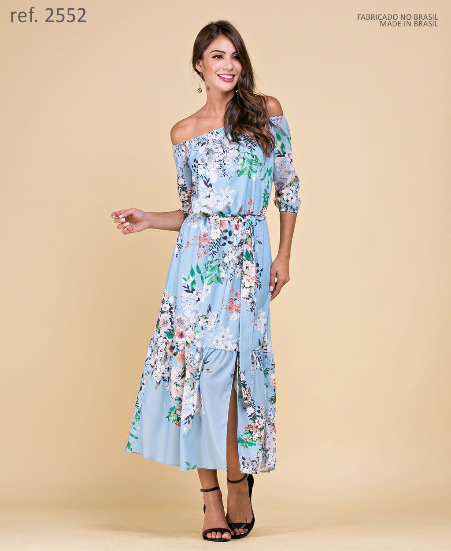 Vestido de festa midi estampa Floral serenity e rosê- Ref. 2552