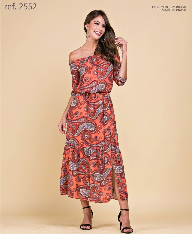 Vestido de festa midi estampa paisley - Ref. 2552