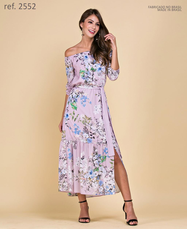 Vestido de festa midi estampa paisley rosa - Ref. 2552