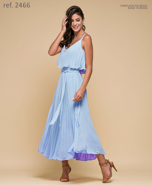Vestido de festa Midi serenity Plissados - Ref. 2466