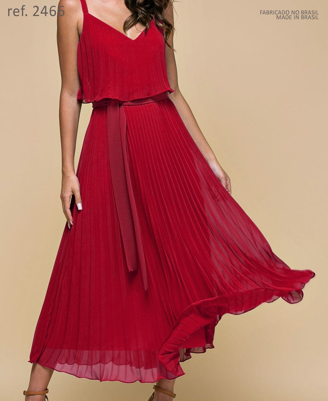 Vestido de festa vermelho Midi Plissados - Ref. 2466