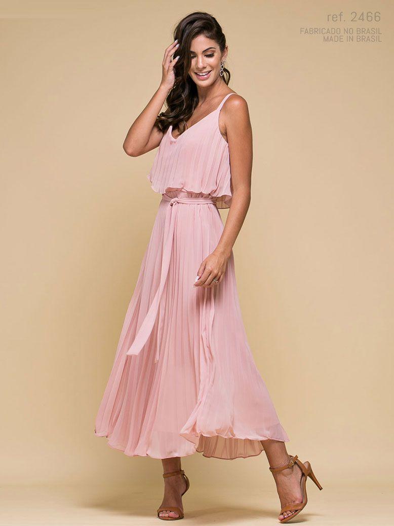 Vestido de festa rosê Midi Plissados - Ref. 2466