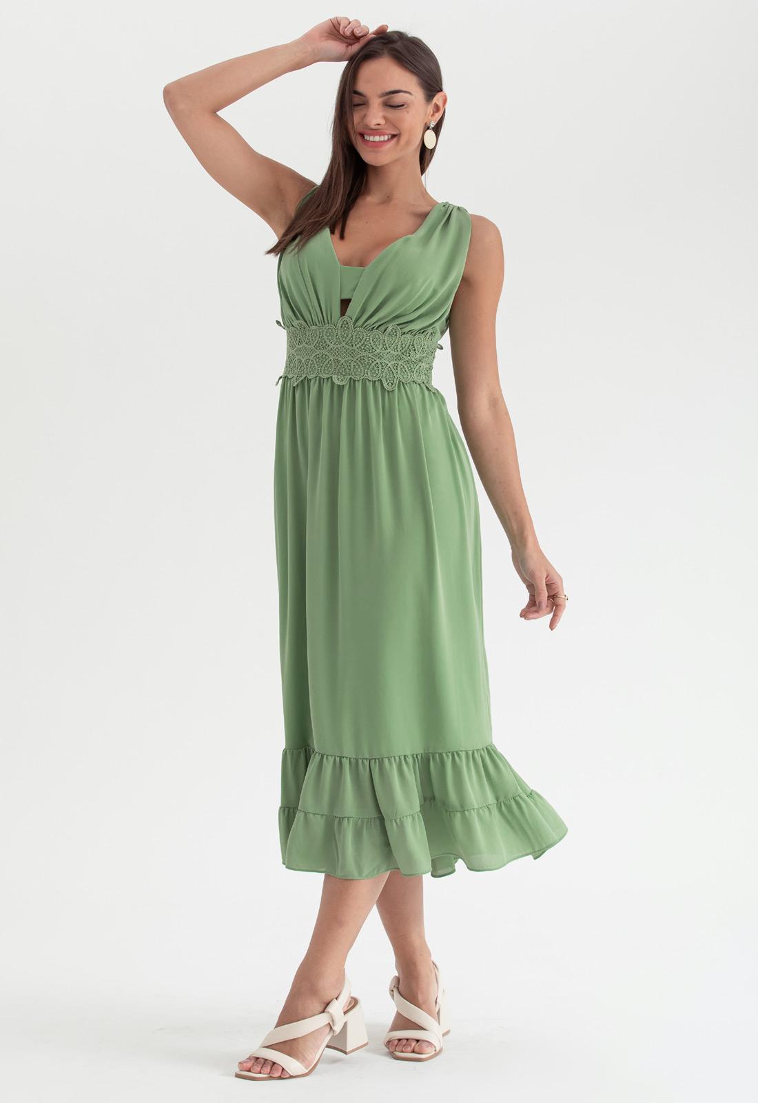 Vestido de festa midi verde - Ref. 2691