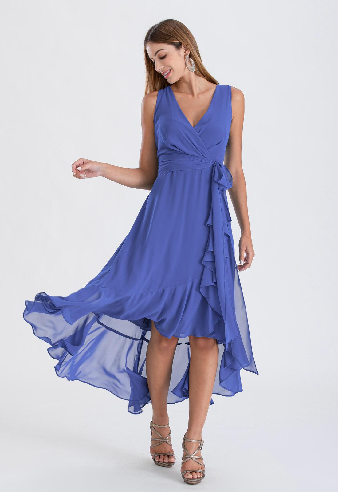 Vestido de festa mullet azul niagara ref. 2480