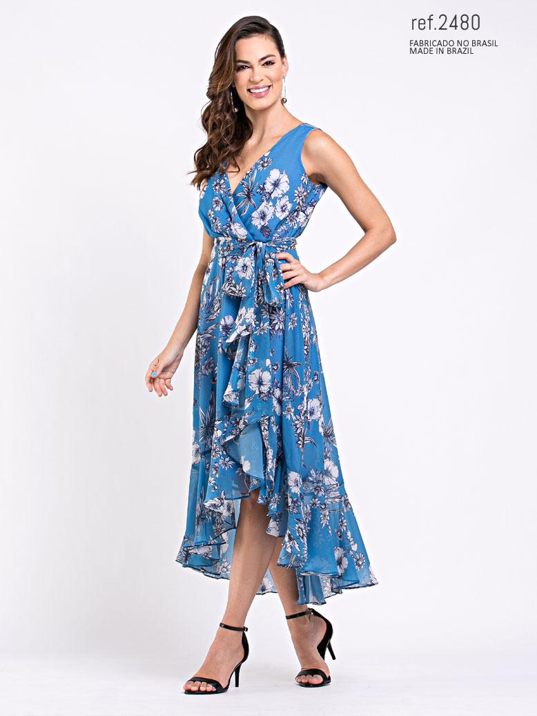 Vestido de festa mullet estampado azul ref. 2480