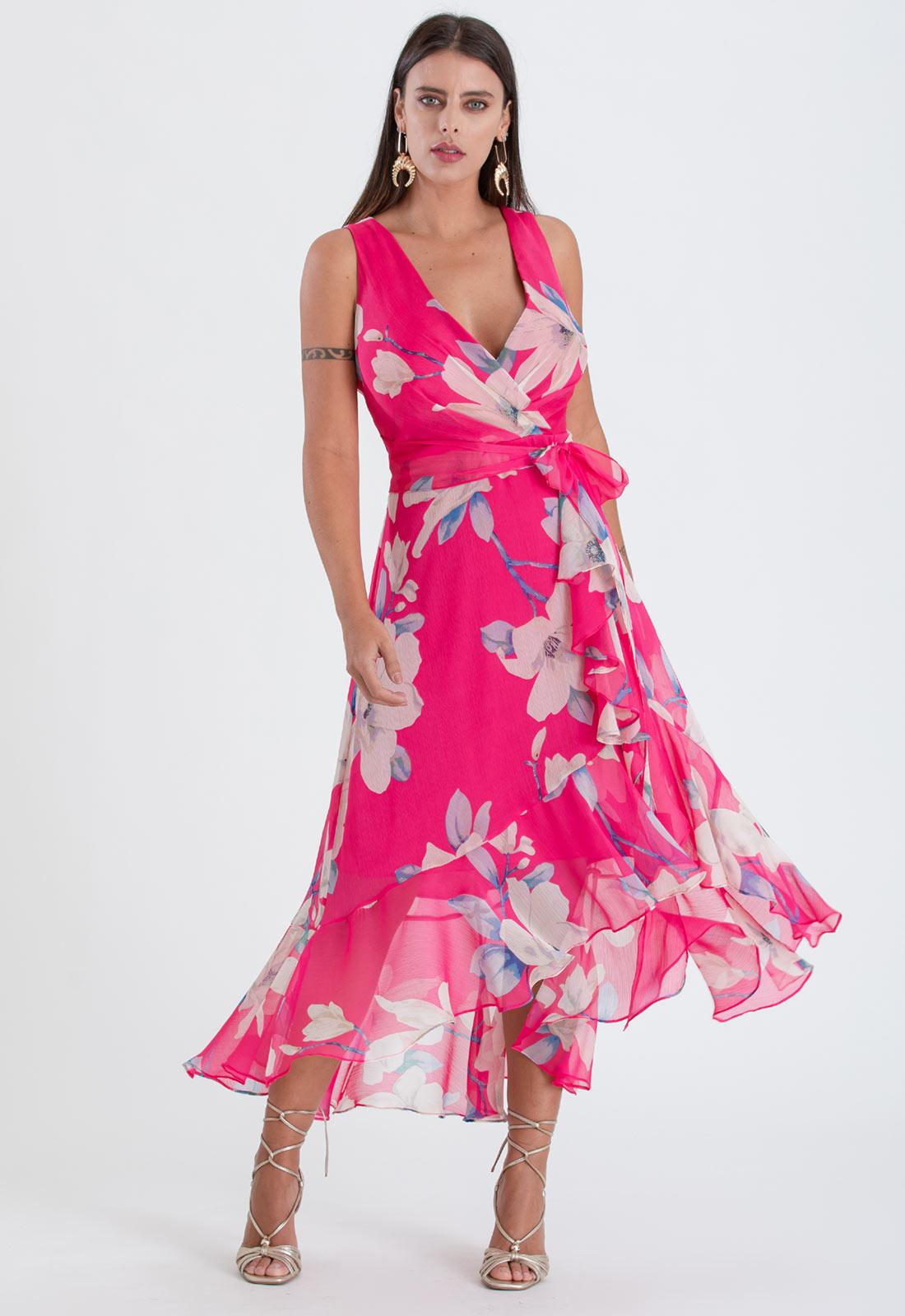 Vestido de festa mullet estampado pink ref. 2480